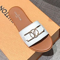 LV Louis Vuitton Summer Popular Women Casual Flat Slippers Sandals Shoes White