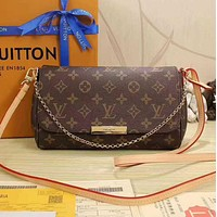 Tagre LV Women Shopping Leather Metal Chain Crossbody Satchel Shoulder Bag