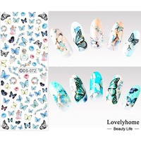 DS072 Nail Design Water Transfer Nails Art Sticker Colored Butterfly Nail Wraps Sticker Watermark Fingernails Decals