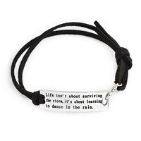 AUGUAU QIHOO Fashion Inspirational Words Messaged Stainless Steel Hand Stamped Leather Cuff Bracelets