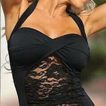 Lace Insert Gathered Halter Top One Piece Swimsuit