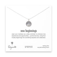 new beginnings lotus disc necklace, sterling silver - 18 inch