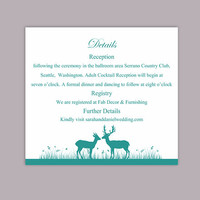 DIY Wedding Details Card Template Editable Word File Download Printable Details Card Turquoise Teal Details Card Elegant Enclosure Card