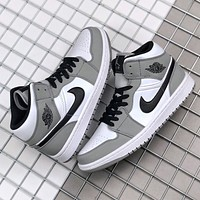 Hipgirls Nike Air Jordan 1 Mid Light Smoke New fashion hook sports leisure shoes Grey