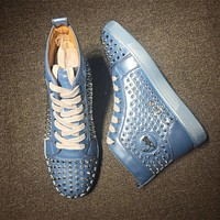 Christian Louboutin CL Louis Spikes Mid Style #1804 Sneakers Fashion Shoes Online