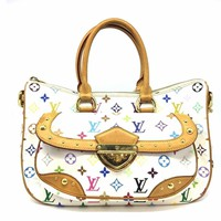 Auth Louis Vuitton Monogram Multicolore Rita Shoulder Tote Bag White