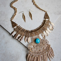 Covered In Leaves Statement Necklace and Earring Set in Gold