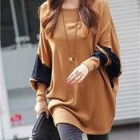Coffee Blends Women Fashion Round Neck Bat Sleeve New Korean Autumn Style Simple Casual Loose Tops Sweaters (Color: Coffee) = 1920184516