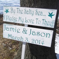 "Wedding outside directional signs ""By the salty sea I pledge my love to thee"" with customized bride & groom names & wedding date sign, 36"" stake - beach wedding sign, destination wedding, bohemian wedding"