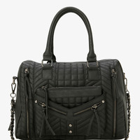 Quilted Tassel Zip Satchel