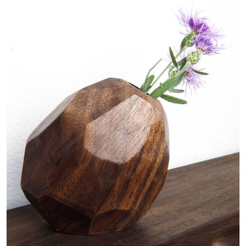 W/S Faceted Bud Vase - Walnut