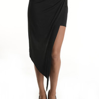 (and) Knotted asymmetrical cut black skirt
