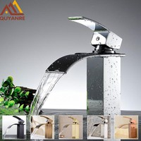 Chrome Waterfall Basin Bathroom Sink Faucet - 7 colors