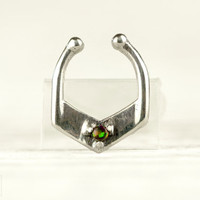 Septum Ring Nose Ring Septum Jewelry Body Black Opal Stone Piercing  Sterling Silver Indian Style 14g 16g - SE029F SS OP34