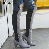 MCCKLE Women High Heel Over Knee Boots Female Slip On Stretch Suede Casual Shoes Ladies Pointed Toe Fashion 2019 Plus Size