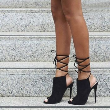 Ankle Boots Sandals Women Slingback Lace Up Peep Toe Pump High Heel Stiletto Africa Spain Party