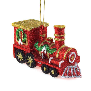 Glittered Christmas Train Plastic Christmas  Ornament, Red, 2-3/4-Inch