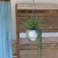 Hanging Zinc Planter with Brass Detail - Small
