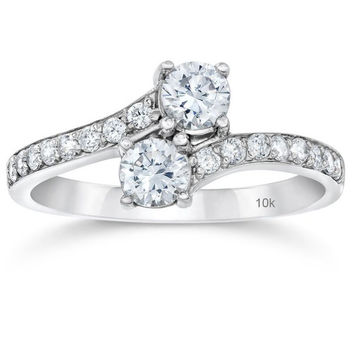 1 Carat Forever Us Diamond Two Stone Engagement Ring 10K White Gold