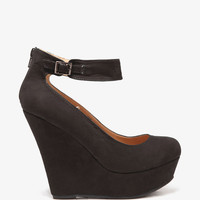 FOREVER 21 Faux Suede Ankle Strap Wedges