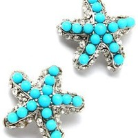 Fancy Sparkling Crystal and Faux Turquoise Beaded Silver Tone Starfish Stud Earrings for Teens and Women