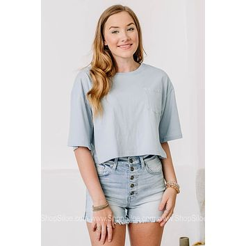 Picture Perfect Pocket Crop Top | Smoke Blue