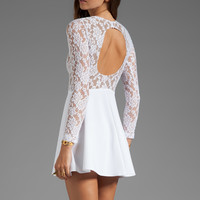 Boulee Avery Long Sleeve Dress in White Lace from REVOLVEclothing.com