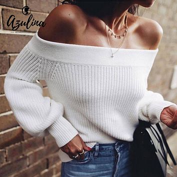 AZULINA Off Shoulder Sweater Lantern Sleeve White Sweater Pullovers Female 2018 Autumn Casual Sweaters Women Clothing Pull Femme