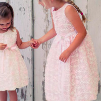 Pink Mesh Girls Dress Covered w. Satin Ribbon Flowers 2T-8