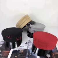 All-match Fashion Embroidery Letter Peaked Cap Flat Top Hat Sun Hat
