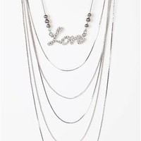 long layered necklace with stone love