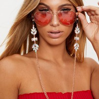 Rose Gold Iridescent Floral Gem Sunglasses Chain