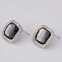 Best Friends jewerly 18K Gold Plated Earing black square stud earrings brincos SMTPE 57