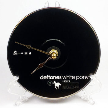 CD Clock, Desk Clock, Wall Clock, Deftones, Recycled Music Compact Disc, Upcycle, Battery, Wall Hanger & Stand ALL INCLUDED