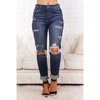 Stacey High Waisted Mom Jeans (Dark Wash)