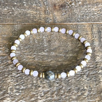 """Rose Quartz and Pyrite Fine Faceted """"Healing and Confidence"""" Bracelet"""