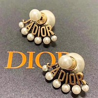 Dior Retro Women Alphabet Pearl Earrings Accessories Jewelry