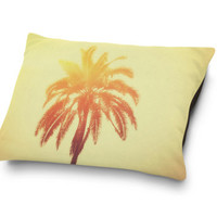 Golden Palm - Pet Bed, Beach Tropical Orange & Red Palm Tree Style Bedding Accent, Cat and Dog Lover Bedroom Accessory. In 18x28 30x40 40x50