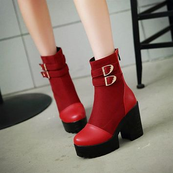 Buckle Ankle Boots High Heels Women Shoes Fall Winter 8276