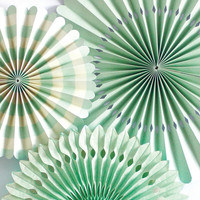 Mint Pinwheels, Party Fans, Mint Wedding, Mint Green, Mint and Pink, Party Rosettes, Paper Fans, Tissue Fans, Pinwheel Fans, Party Pinwheels