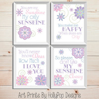 You are My Sunshine Pink Purple Nursery Art Girls Room Decor Inspirational Nursery Song Set of 4 Prints Baby Show Gift Quotes for Kids
