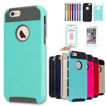 Shockproof Dual Layer TPU Hybrid Armor PC Hard Back Cover Slim Phone Case For iPhone 6 6S 4.7 inch +Screen Protector+Stylus Pen