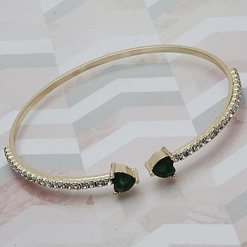 Gold Layered Women Heart Individual Bangle, with Green Cubic Zirconia, One size fits all by Folks Jewelry