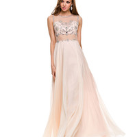 Preorder -  Nude Illusion Two Piece Chiffon Gown Prom 2015