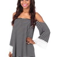 My Party Black And White Striped Dress   Monday Dress Boutique