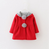 Cute Ball Rabbit Hooded Princess Jacket