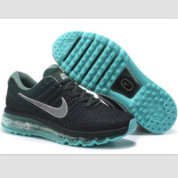 """NIKE"" Trending Fashion Casual Sports Shoes AirMax section Black Silver hook Green soles"