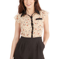 ModCloth French Long Short Sleeves Twofer Standing Bloom Only Romper