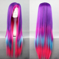 80cm Long Charm Lolita Color Mixed Straight Anime Cosplay wig