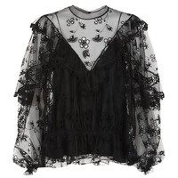 Chloé Embroidered Ruffle Tulle Blouse | Harrods.com